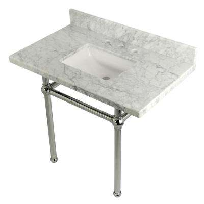 Square-Sink Washstand 36 in. Console Table in Carrara with Metal Legs in Polished Chrome