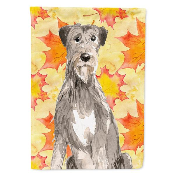Caroline S Treasures 28 In X 40 In Polyester Fall Leaves Irish Wolfhound Flag Canvas House Size 2 Sided Heavyweight Ck1839chf The Home Depot