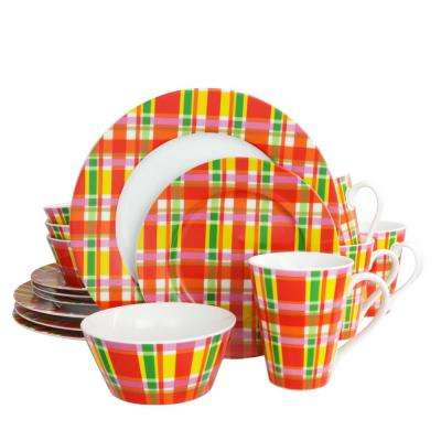 Multi Plaid 16-Piece Dinnerware Set
