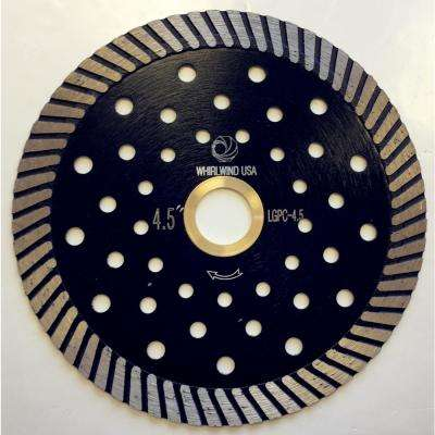 4.5 in. Turbo Continuous Rim Diamond Blade for Dry or Wet Stone Cutting for Granite