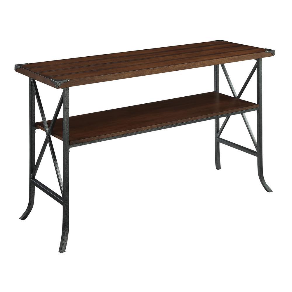 Brookline Dark Walnut and Slate Gray Console Table
