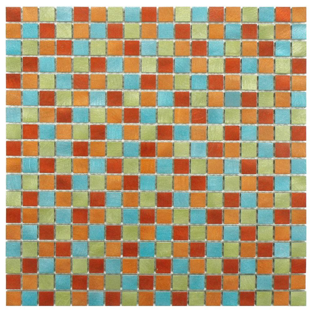 Merola Tile Alumina Mini Cirque 12 in. x 12 in. x 8 mm Brushed Aluminum Mosaic Tile