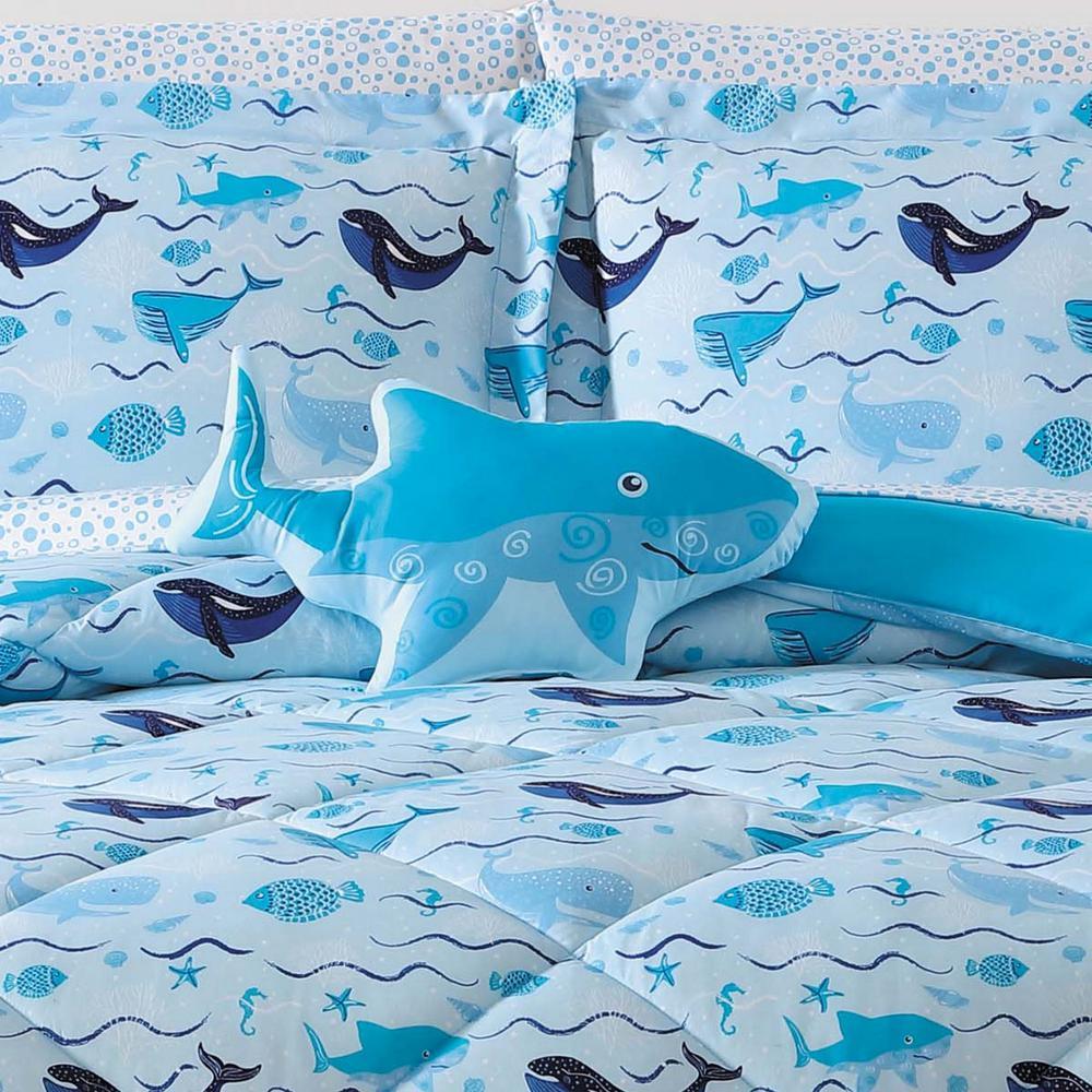 Kids Deep Blue Sea Shaped Pillow