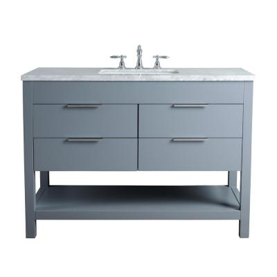 Rochester 48 in. Grey Single Sink Bathroom Vanity with Marble Vanity Top and White Basin