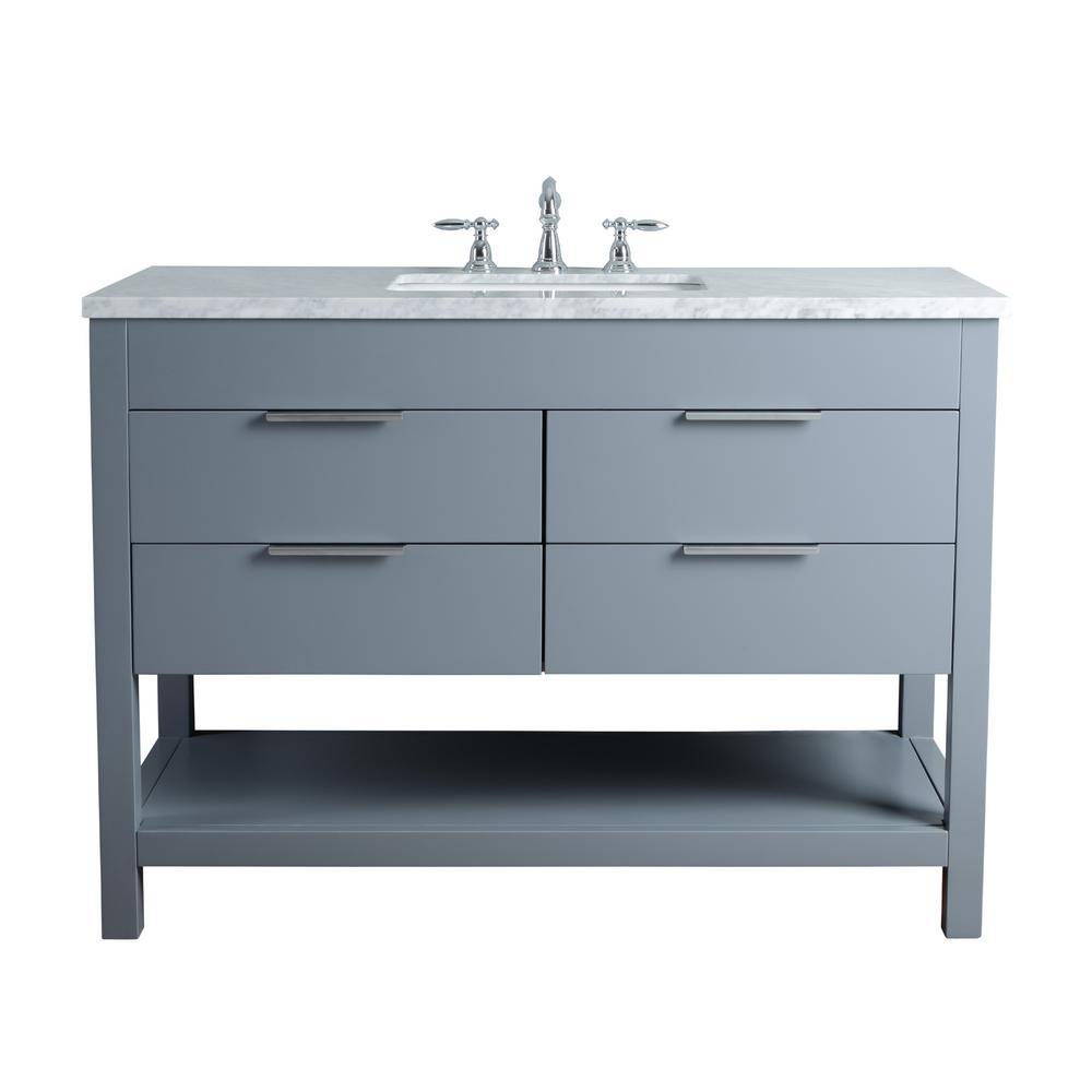 Rochester 48 in. Grey Single Sink Bathroom Vanity with Marble Vanity