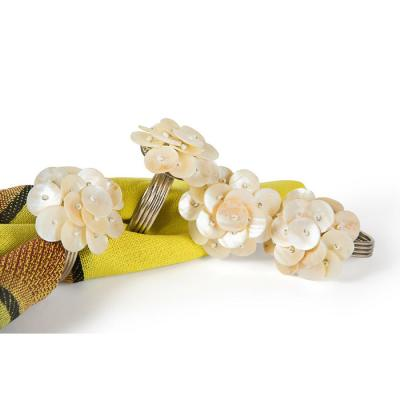 Beige Mother of Pearl Elegant Flower Metal Napkin Rings (Set of 4)
