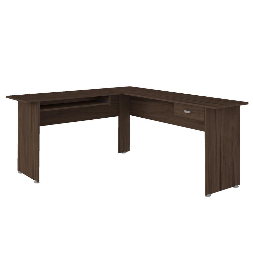 Columbia 64.96 in. Walnut MDF 1-Drawer Desk