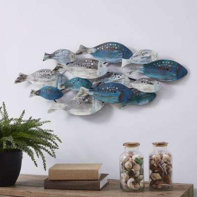 Coastal School of Fish Metal Wall Art