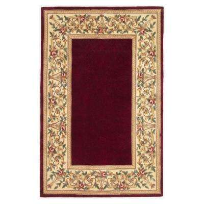 Lush Floral Border Ruby 3 ft. x 4 ft. Area Rug