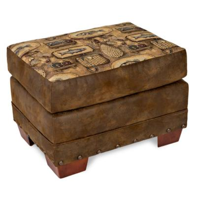River Bend Fishing Cabin Tapestry Ottoman with Nail Head Accents