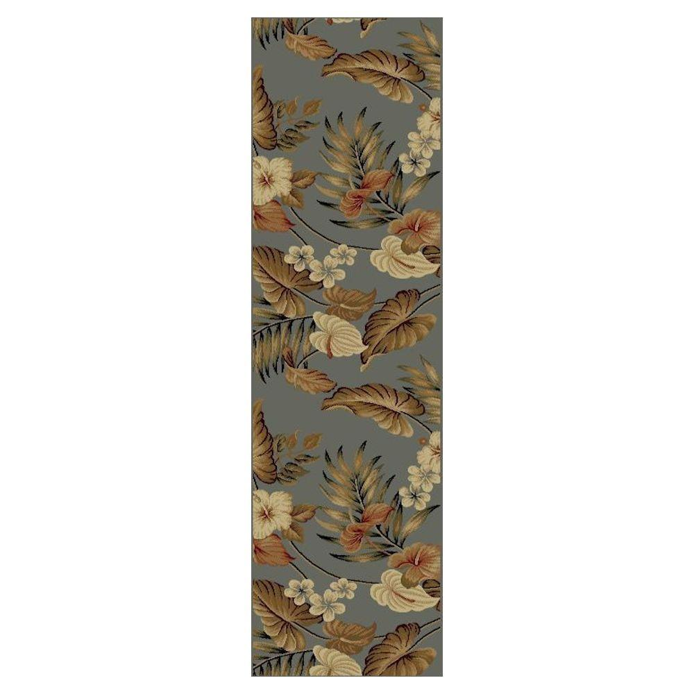 Kas Rugs Tropic Sun Slate 2 ft. 3 in. x 7 ft. 7 in. Rug Runner