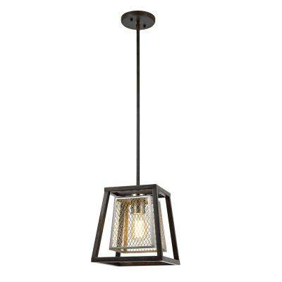 1-Light Dark Wood Dual Shade Mini Pendant with Brushed Nickel Mesh Inner Shade