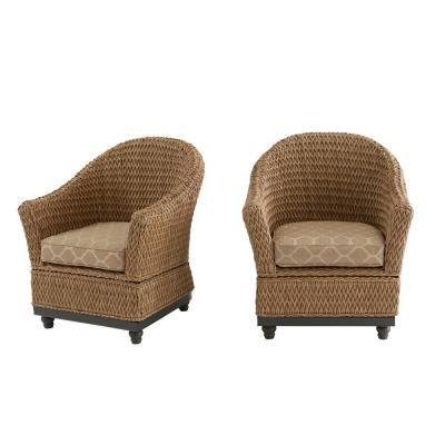 Camden Light Brown Seagrass Wicker Outdoor Porch Lounge Chair w/ CushionGuard Toffee Trellis Tan Cushions (2-Pack)