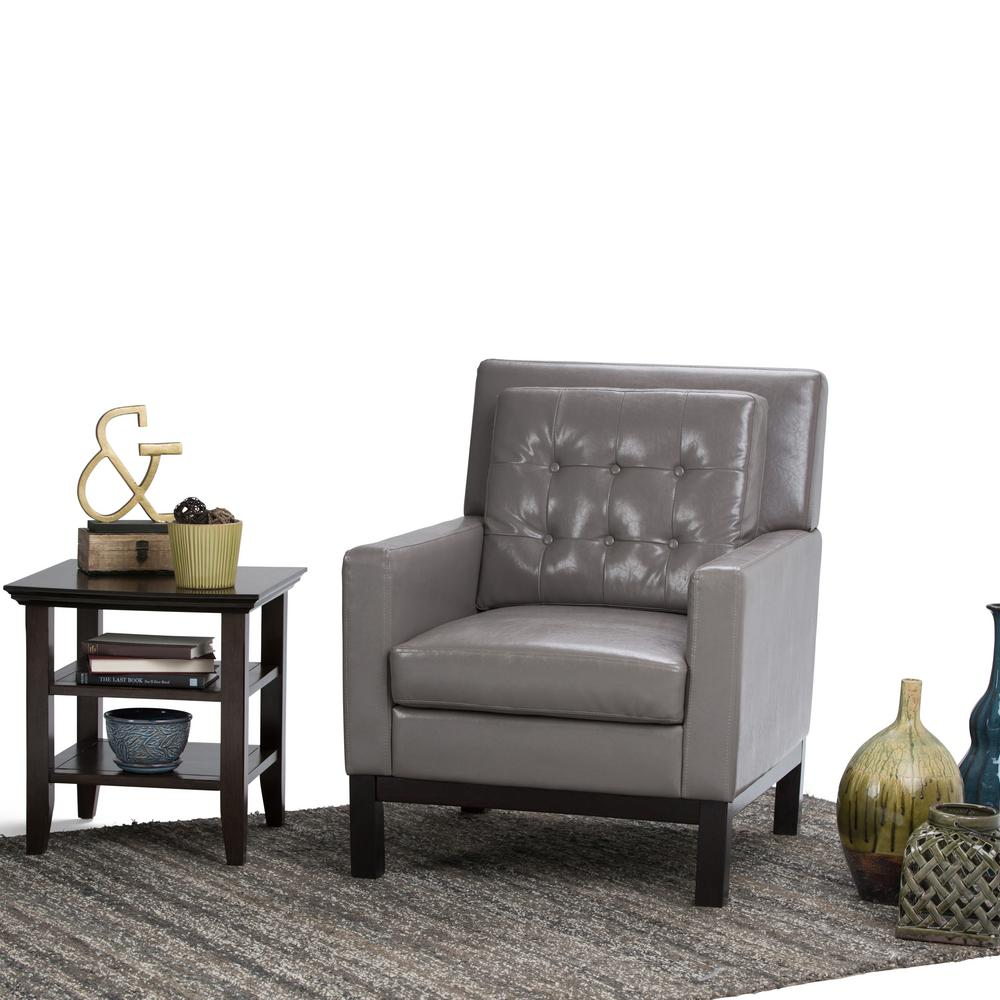 Simpli Home Carrigan Taupe Bonded Leather Club Arm Chair-AXCCHR-013 ...