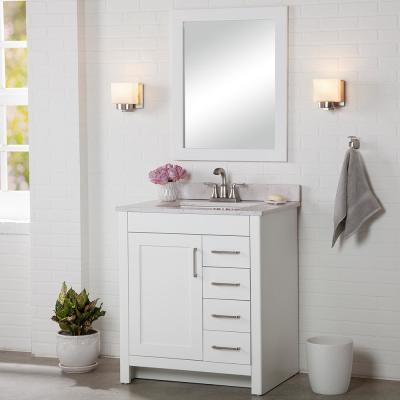 Westcourt 31 in. W x 22 in. D Bath Vanity in White with Stone Effect Vanity Top in Pulsar with White Sink