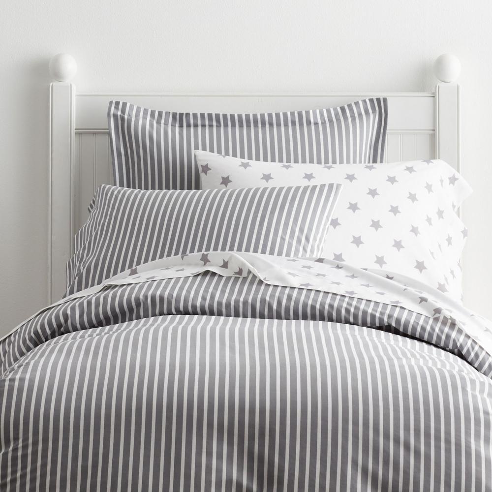 Aiden Stripe 200-Thread Count Cotton Percale Duvet Cover