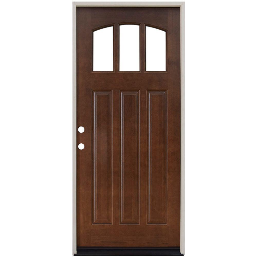 Steves sons 36 in x 80 in craftsman 3 lite arch for Front door replacement home depot