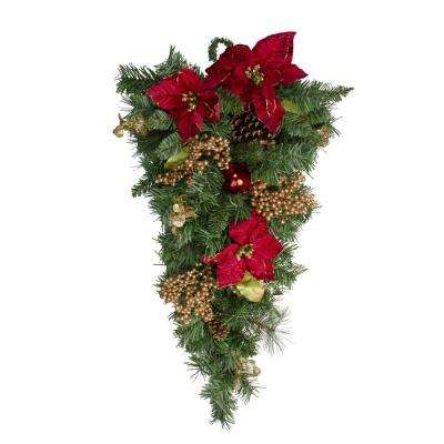 28 in. Unlit Pine with Red Balls Poinsettias Gold Pine Cones and Berries Christmas Teardrop Swag