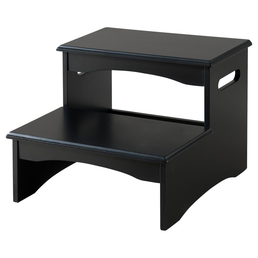 Kings Brand Furniture 2-Step Black Wood Bedroom Step Stool