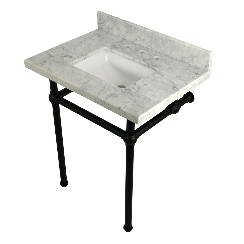 Square Sink Washstand 30 in. Console Table in Carrara with Metal
