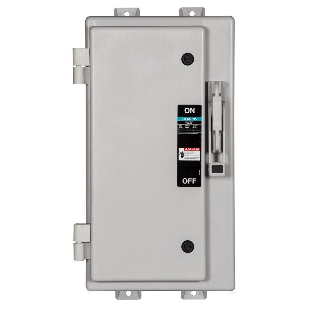 Siemens Heavy Duty 100 Amp 600-Volt 3-Pole Type 4X Non-Metallic Non-Fusible Safety Switch