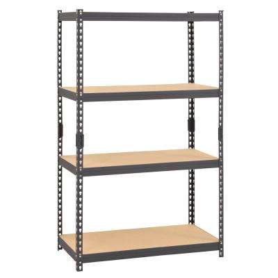 60 in. H x 36 in. W x 18 in. D 4-Shelf Steel Boltless Rivet Particle Board Shelving Unit in Gray