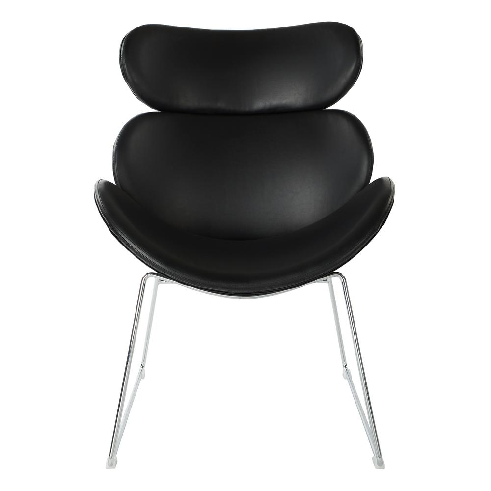 Beau Ave Six Jupiter Black Faux Leather Chair With Chrome Base
