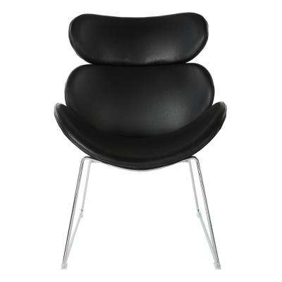 Jupiter Black Faux Leather Chair with Chrome Base