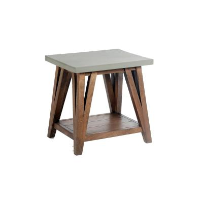 Brookside 22 in. W Wood with Cement-Coating End Table