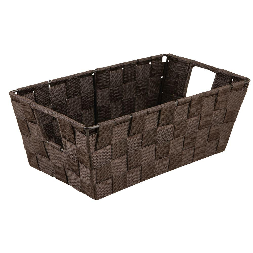 Simplify 4.5 in. x 11.4 in. 730 g Small Woven Strap Shelf Tote Bin with Handles in Chocolate