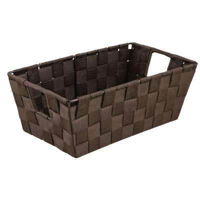 4.5 in. x 11.4 in. 730 g Small Woven Strap Shelf Tote Bin with Handles in Chocolate
