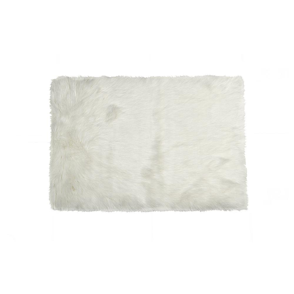 Hudson Off White 5 ft. x 8 ft. Faux Sheepskin Indoor