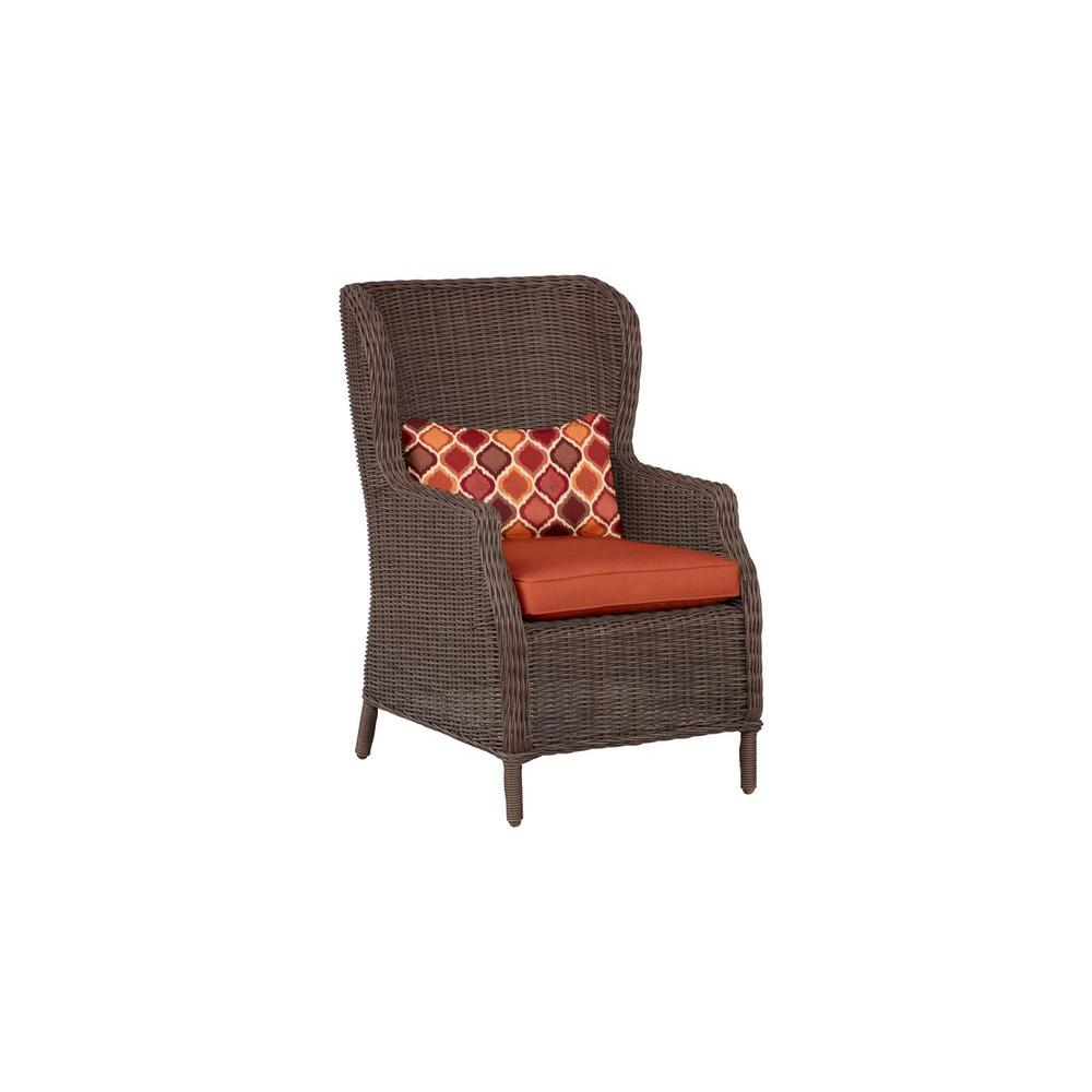 Vineyard Patio Cafe Chair in Cinnabar with Empire Chili Lumbar Pillow