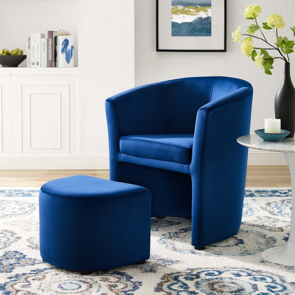 Divulge Performance Navy Velvet Arm Chair and Ottoman Set