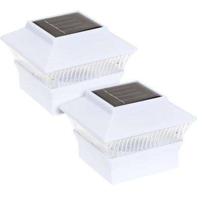 4 in x 4 in solar powered integrated led white outdoor post