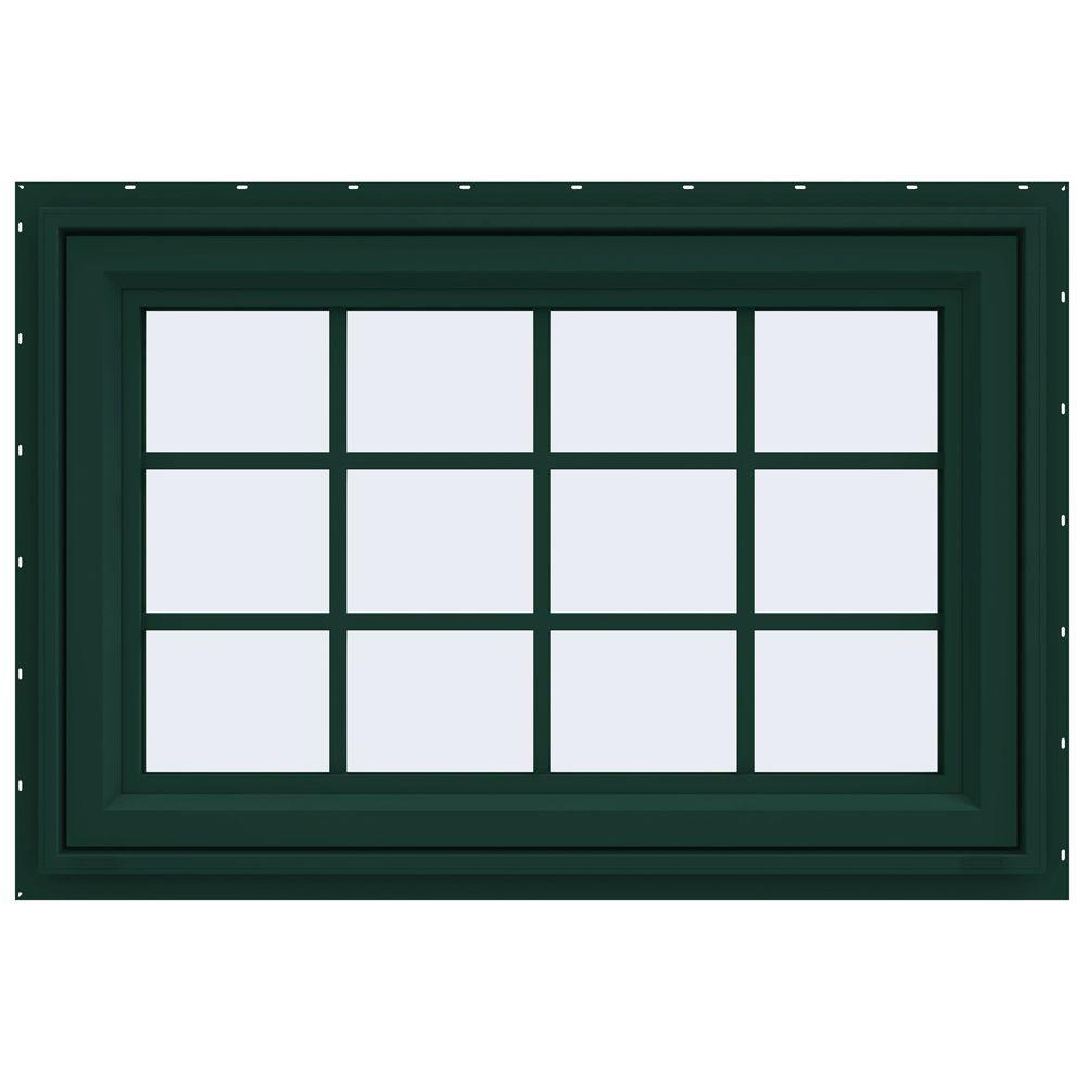 JELD-WEN 35.5 in. x 29.5 in. V-4500 Series Awning Vinyl Window with Grids - Green