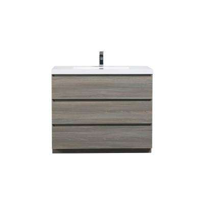 Angeles 42 in. W Vanity in Matte Gray with Reinforced Acrylic Vanity Top in White with White Basin