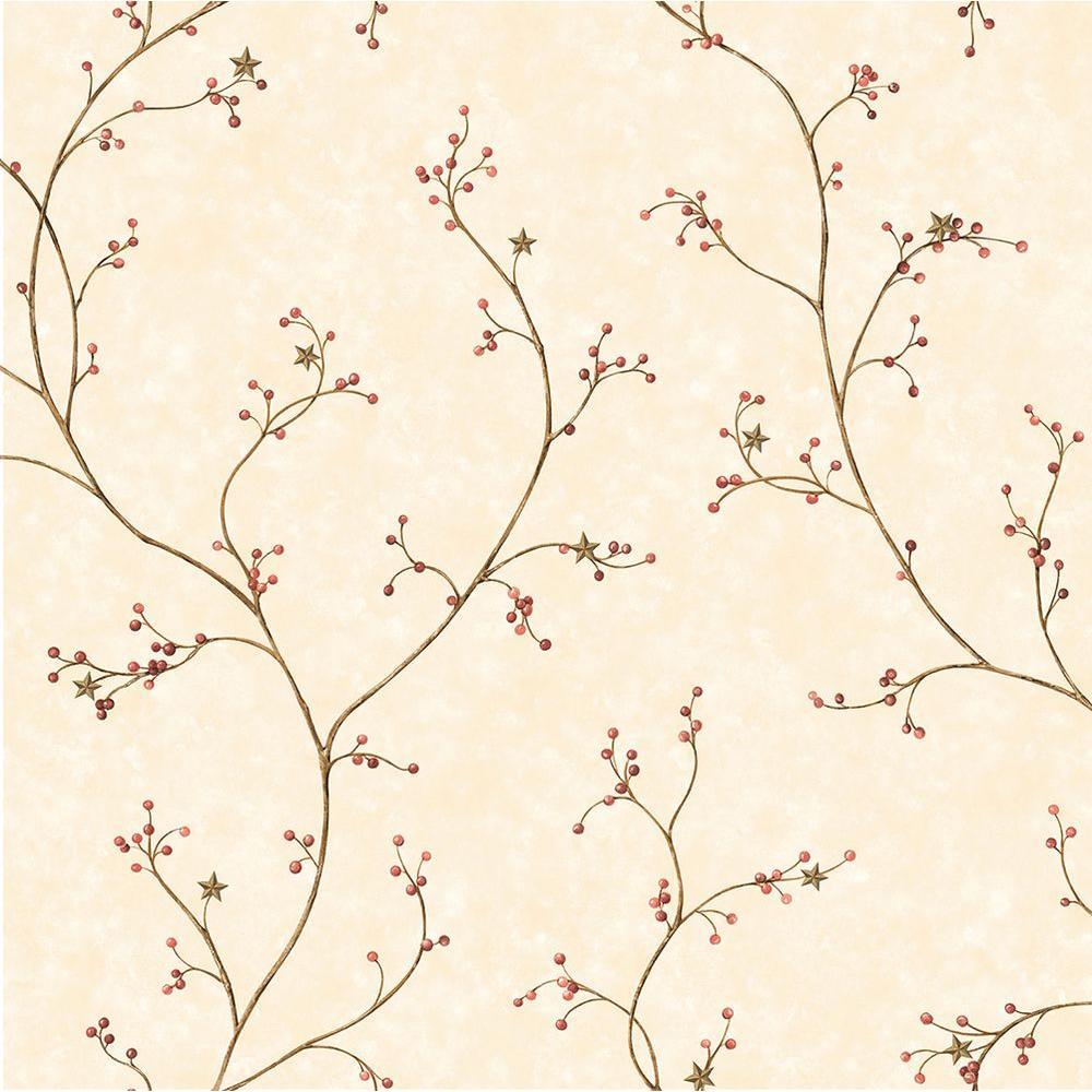 Star Berry Dark Red Vine Wallpaper