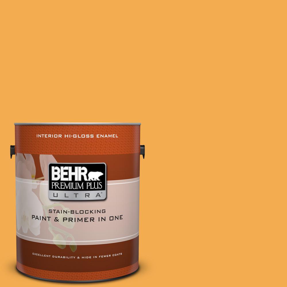 1 gal. #290B-6 Squash Hi-Gloss Enamel Interior Paint
