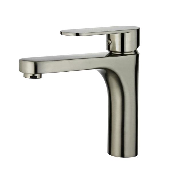 Donostia Single Hole Single-Handle Bathroom Faucet with Overflow Drain in Brushed Nickel