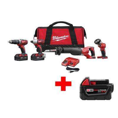M18 18-Volt Lithium-Ion Cordless Hammer Drill/Impact/Sawzall/Light Combo Kit (4-Tool) with Free 5.0Ah Battery