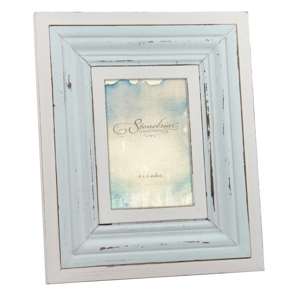 Stonebriar Collection 4 In X 6 Weathered Light Blue And White Picture Frame