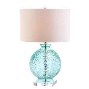 Jonathan Y Estelle 26 In Aqua Glass And Crystal Table