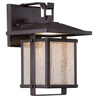 Hillsdale 14 in. Dorian Bronze Outdoor Integrated LED Wall Mount Lantern