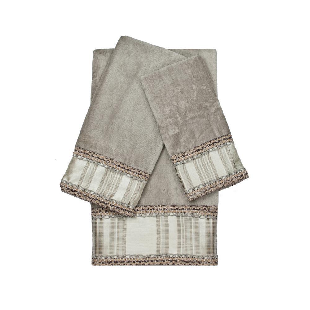 Norwood Stripe Grey Decorative Embellished Towel Set (3-Piece)