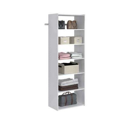Essential Shelf 25 in. W White Wood Closet Tower