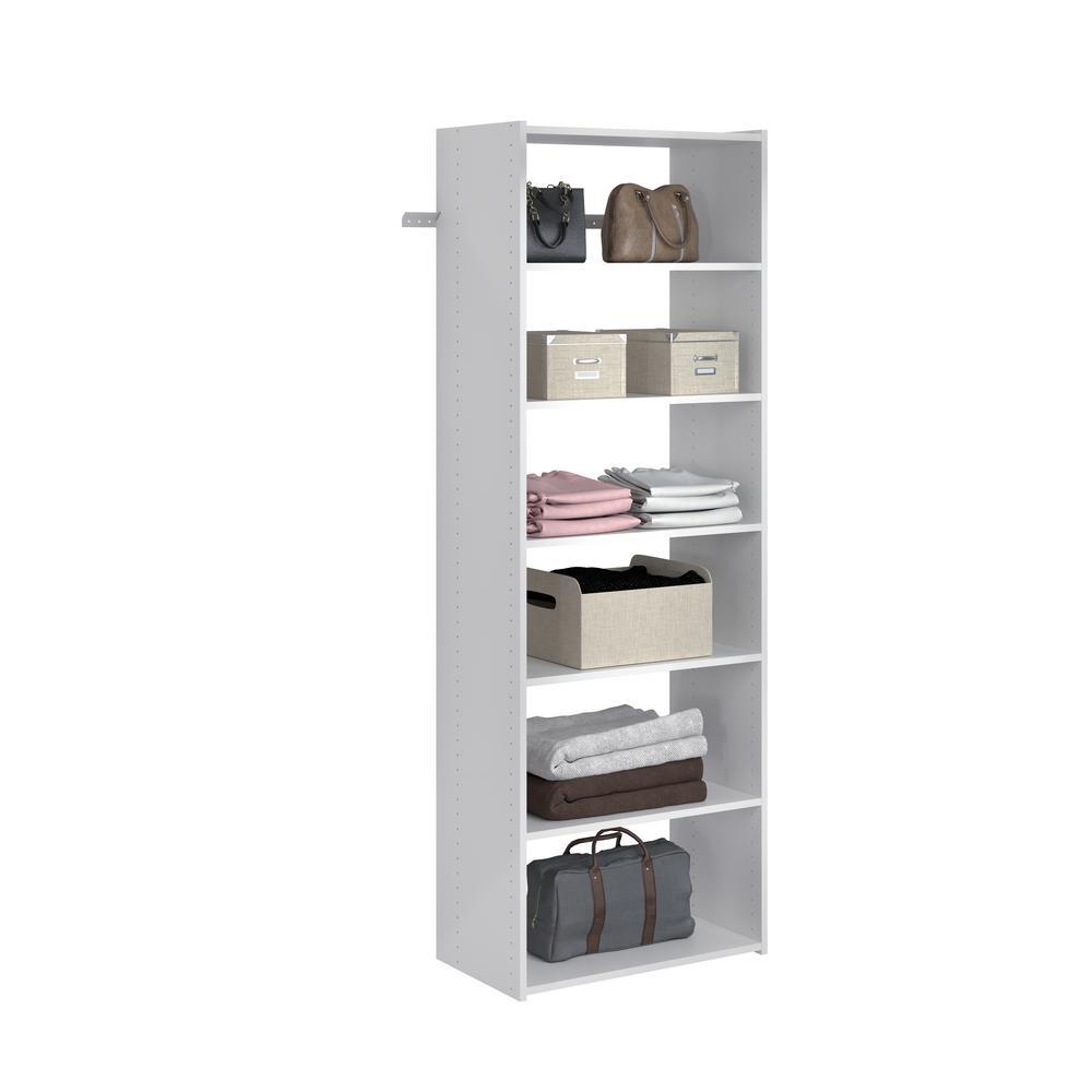 Essential Shelf 25 in. W White Wood Closet Tower