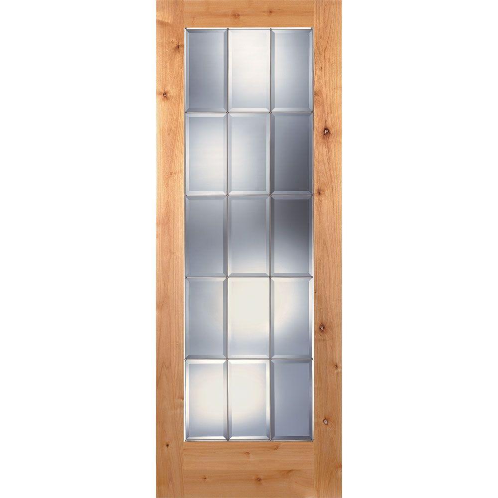 15 Lite Clear Bevel Zinc Woodgrain Unfinished Cherry Interior Door Slab  sc 1 st  The Home Depot & 32 x 80 - 15 Lite - Slab Doors - Interior u0026 Closet Doors - The ... pezcame.com