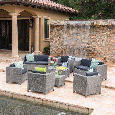 Fernanda Dark Gray 8-Piece Wicker Patio Conversation Set with Mixed Black Cushions