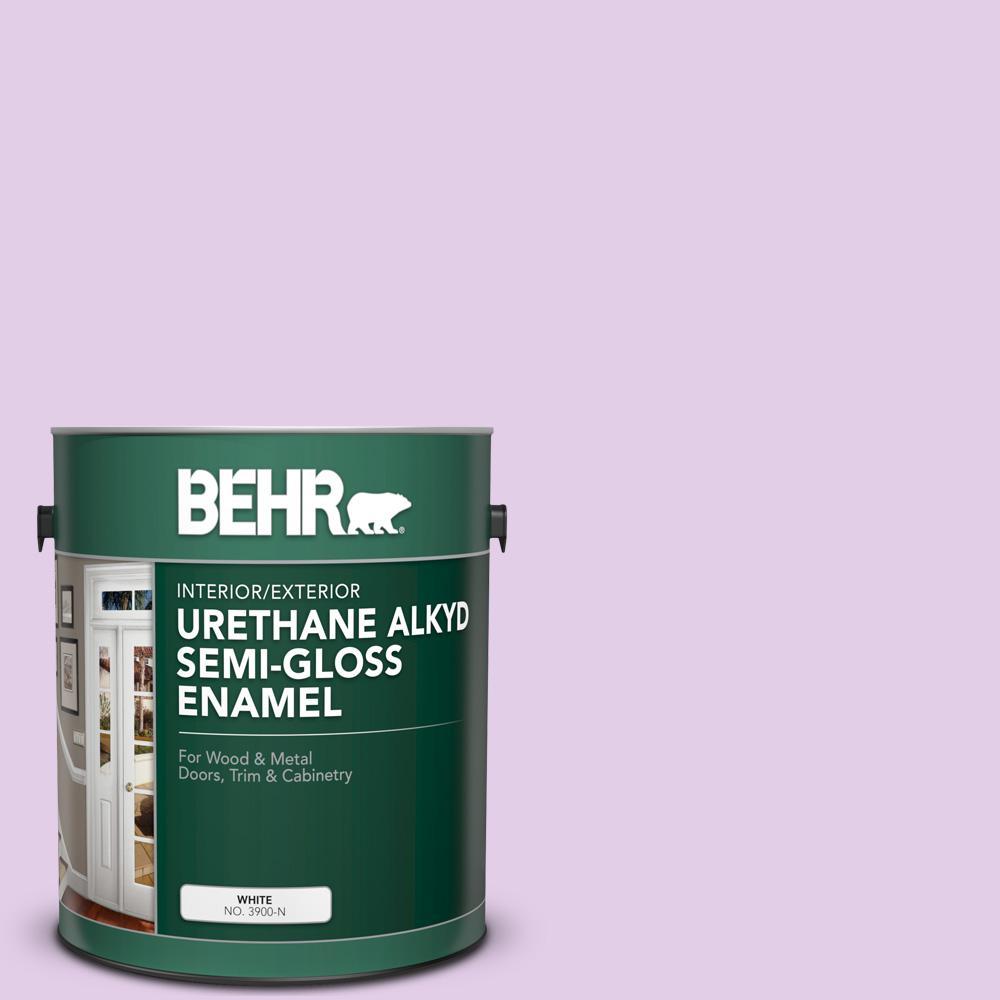 Behr 1 Gal P100 2 Sweet Romance Urethane Alkyd Semi Gloss Enamel Interior Exterior Paint 390001 The Home Depot